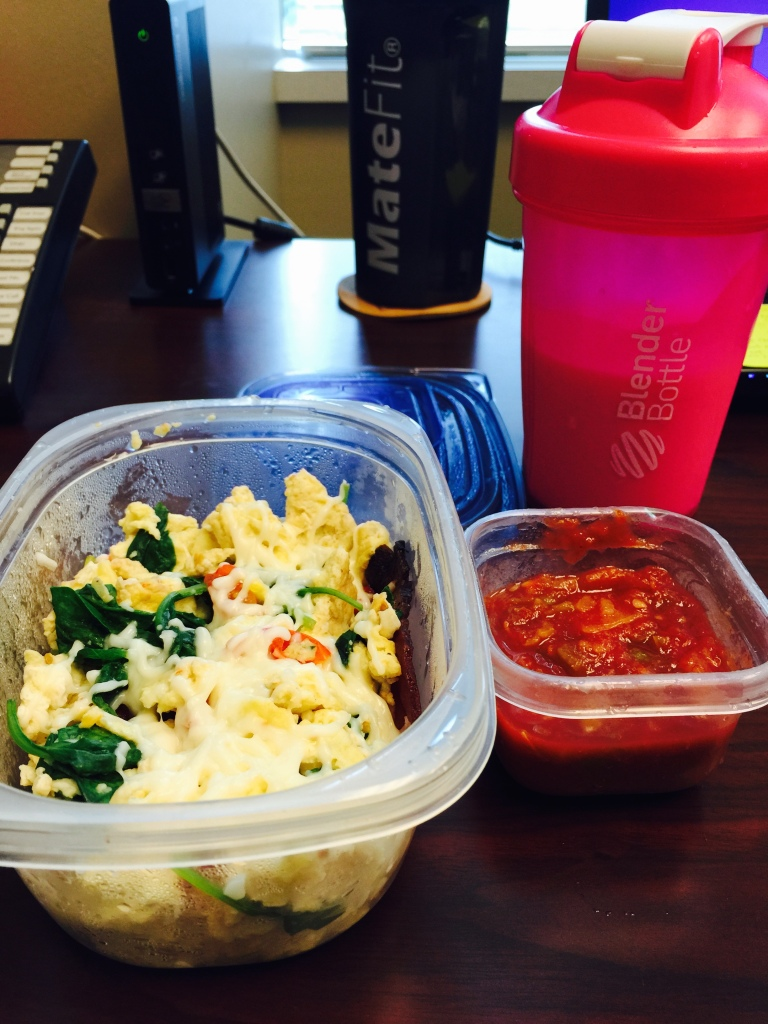 I call this my power breakfast. When I know my day is full with strength training, high-intensity training, work, and full, mommy mode, I seek food that will fuel me from the beginning. A quick egg scramble (4 eggs, a handful of spinach, three grape tomatoes, and two tablespoons of low-fat mozzarella cheese), salsa, 8 ounces of strawberry kefir, and lemon water. Great protein, good carbs, probiotics, and water!